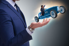 The man launching race car in start concept Royalty Free Stock Image