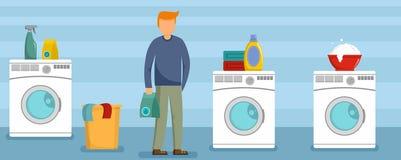 Man at laundry clothes banner horizontal, flat style. Man at laundry clothes banner horizontal. Flat illustration of vector man at laundry clothes banner vector illustration