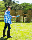 Man lawn fertilizer Stock Photos