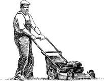 Man with lawn mower Stock Image