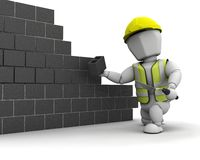 Man laying blocks building a wall. 3D render of a man laying blocks building a wall Stock Images