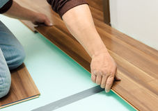 Man laying parquet in clean room. While sitting on knees stock image