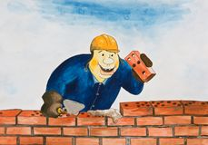 A man lays bricks. The bricks in the form of a domino. Caricature Stock Image