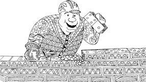 A man lays bricks. The bricks in the form of a domino. Hand drawn patterns for coloring. Freehand sketch drawing for adult antistress coloring book Stock Photo