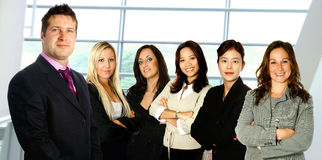 Man lead diverse female team Royalty Free Stock Photo