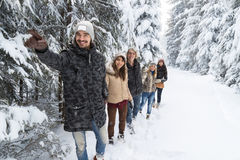 Man Lead Friends Group Snow Forest Young People Walking Outdoor Royalty Free Stock Photos