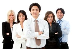 Man leading a business team Stock Photos