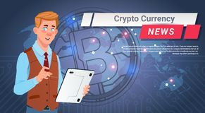 Man Leading Crypto Currency News Report Golden Bitcoin Over World Map Digital Web Money Concept. Vector Illustration Stock Image