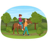 Man leading the horse with the woman riding on it vector illustration. Royalty Free Stock Images
