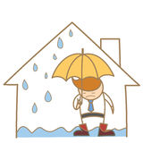 Man in the leak roof house Stock Photo