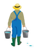 Man with a leaky bucket Royalty Free Stock Photo