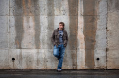 Man Leaning Against Wall Royalty Free Stock Image