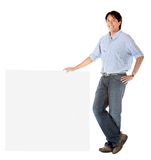 Man leaning on a banner Royalty Free Stock Images
