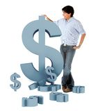 Man leaning on a dollar symbol Stock Images