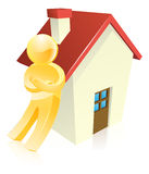 Man leaning on house. Man leaning on a house real estate concept Royalty Free Stock Images