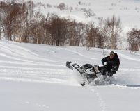 Man Leaning the snowmobile right over in the backcountry Royalty Free Stock Image