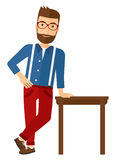 Man leaning on table Stock Image