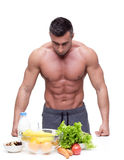 Man leaning on the table with healthy food Royalty Free Stock Images