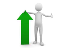 Man leaning to economy green arrow. 3D render Royalty Free Stock Images