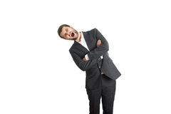 Man leaning to the right and screaming Royalty Free Stock Photography