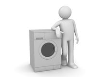 Man leaning on the washer Royalty Free Stock Photo