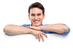 Man leaning on whiteboard Stock Photos