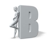 Man leans on letter B Stock Photos