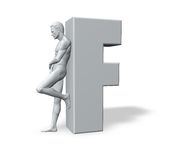 Man leans on letter f Royalty Free Stock Images
