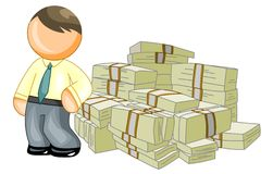 Man leans on money Stock Photo