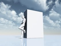 Man leans on white box Royalty Free Stock Photography