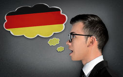 Man learn speaking german Stock Photos