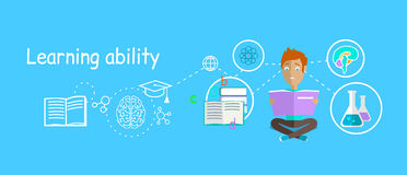 Man Learning Ability Concept Design. Strategy education, development business skill, solution work, success learn, motivation teaching, training and stock illustration