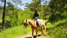 Man learning horse riding, outdoor stock footage