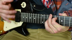 Man Learning To Play Guitar stock video