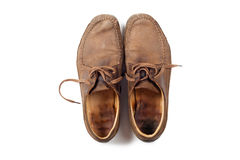 Man leather brown shoes Stock Photography
