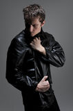 Man with leather jacket Stock Image