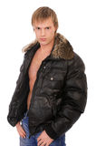 Man in leather jacket Stock Images