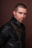 Man in Leather Jacket. Portrait of a good looking man in leather jacket Stock Photo