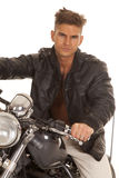 Man leather jacket close sit motorcycle Royalty Free Stock Photos