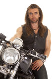 Man leather vest motorcycle close serious Royalty Free Stock Photos