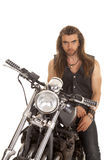 Man leather vest motorcycle look serious Royalty Free Stock Image