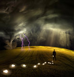 Man leaves trail of ideas. High Resolution Illustration Man leaves trail of ideas in stormy field Stock Image