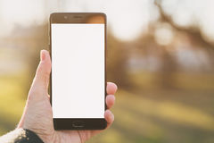 Man left hand holding smartphone with white screen outdoors with spring blurred background. Shallow focus Royalty Free Stock Images