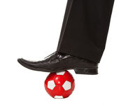 Man leg in suit with soccer ball Royalty Free Stock Images