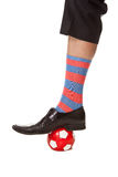 Man leg in suit with soccer ball Stock Image