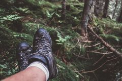 Man legs in hiking boots Royalty Free Stock Image