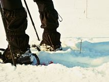 Man legs with snowshoes walk in snow. Detail of winter hike in snowdrift, snowshoeing Stock Images