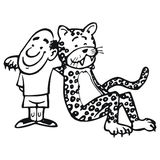 Man and leopard Royalty Free Stock Images