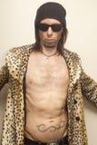 Man In Leopard Print Stock Photo