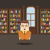 Man in the library. Library interior with books. Flat design royalty free illustration